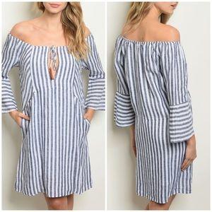 Dresses & Skirts - NAVY WHITE STRIP OFF SHOULDER DRESS